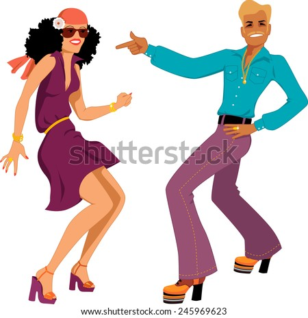 Young Caucasian couple dressed in 1970s fashion dancing disco, vector illustration, isolated on white, no transparencies, EPS 8 - stock vector