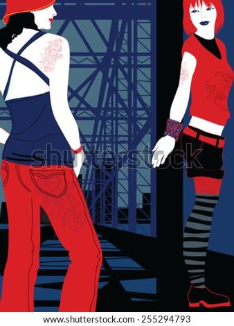 Young, cool lesbian women on bridge - stock vector