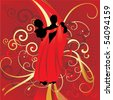 young couple dancers cool on red backdrop wedding vector - stock vector