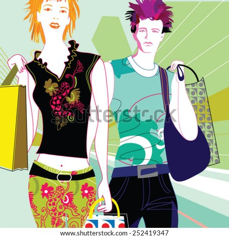 Young couple enjoying shopping in the city - stock vector