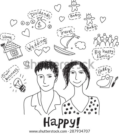 Young couple family plans dreams wishes happy Portrait of young unrecognizable couple with goals, dreams and wishes symbols. Doodles black and white vector illustration. - stock vector