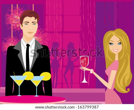 Young couple flirt and drink champagne in the club - stock vector