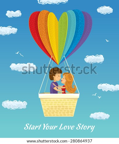 Young Couple - Honeymoon Tour - stock vector