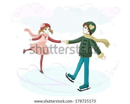 Young couple in love skating at the rink - stock vector