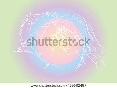 Young couple in love. Sketchy style. - stock vector