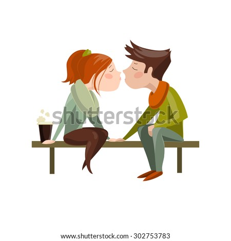 Young couple kissing on bench. Vector isolated illustration - stock vector
