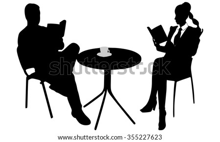 young couple reading a book during coffee break  - stock vector