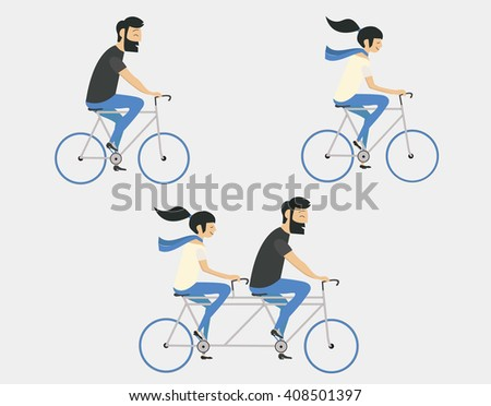 Young couple riding bicycle set - stock vector