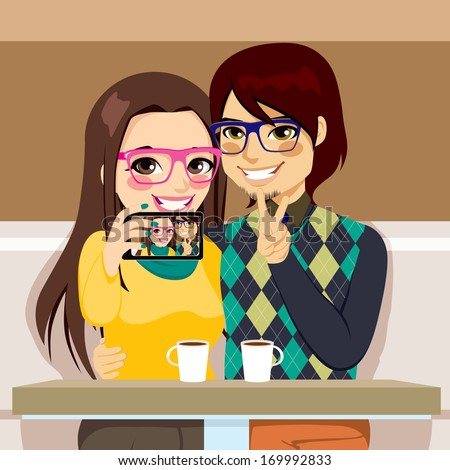 Young couple taking selfie photo together with mobile phone camera at a coffee shop - stock vector