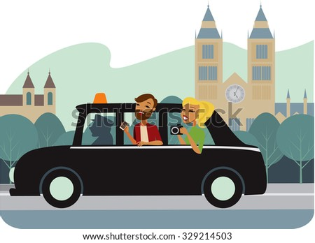 Young couple tourists  in Taxi vector illustration - stock vector
