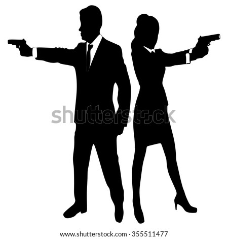 young couple with handguns - stock vector