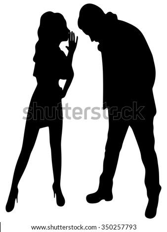 Young cute woman whispering secrets in her boyfriend's ear - stock vector