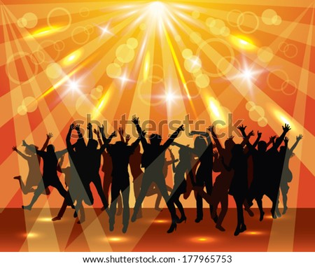Young dancing  people on the party.  Sunny background.  - stock vector