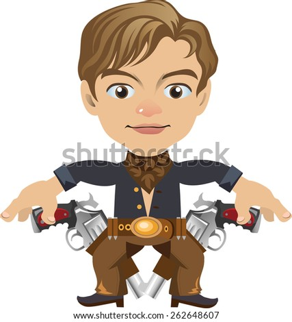 young dark brown with two revolvers - stock vector