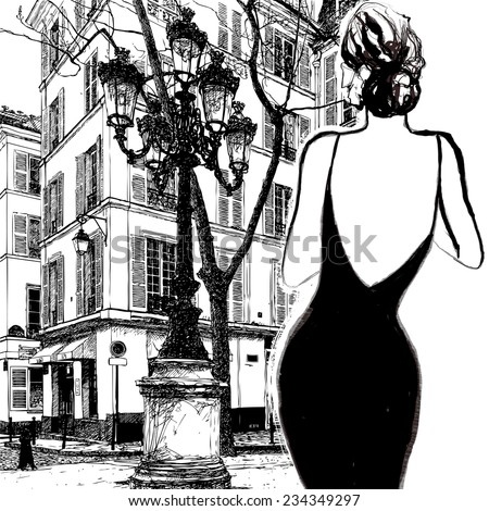 Young elegant woman in a black dress in Paris - Vector illustration - stock vector