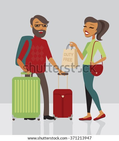 Young family  traveling with lot of baggage - stock vector