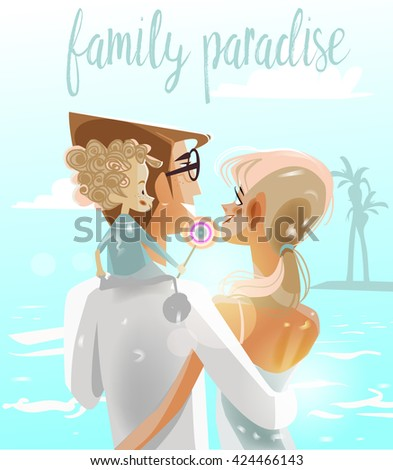 young family with child on the sea - stock vector