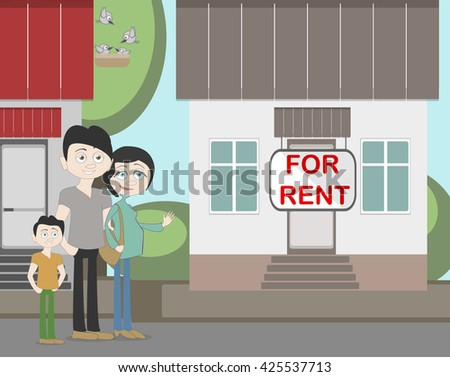 Young family with for rent house. Family search for new house. House with for rent sign. Happy new family. Parents and child. Pregnant mother.  - stock vector