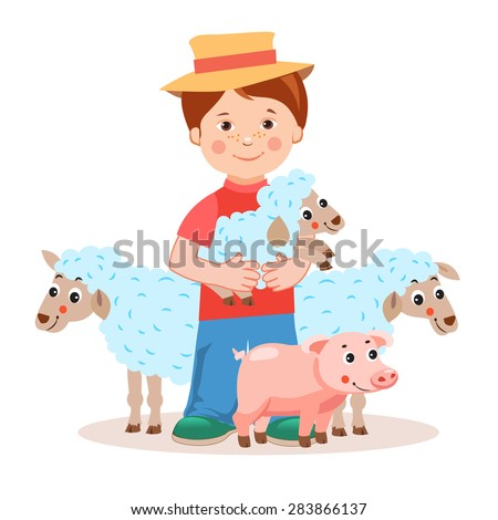 Young farmer with lamb in the hands and farm animals -  pig, sheep. Cartoon vector illustration on a white background. Young farmer gifts. Successful farmer. Farm Animals For Sale. Farm Animals Toys. - stock vector