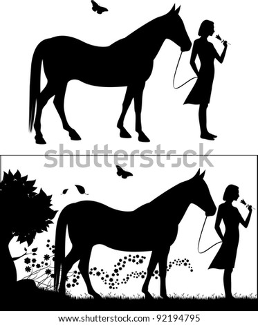 Young female black silhouette with a horse.  This is a high resolution JPG image with an EPS file. - stock vector