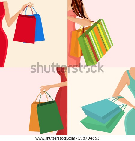 Young females holding shopping bags in hands decorative elements set isolated vector illustration - stock vector
