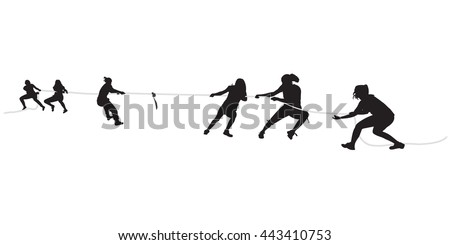 Young females pulling a rope in tug of war - stock vector