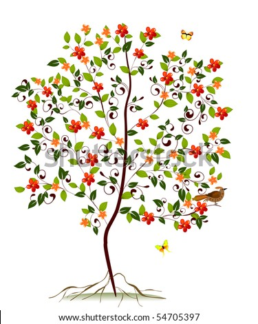 young flowering tree - stock vector