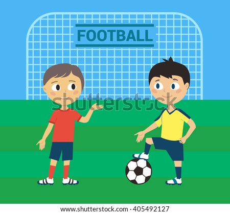 Young Football Players - stock vector