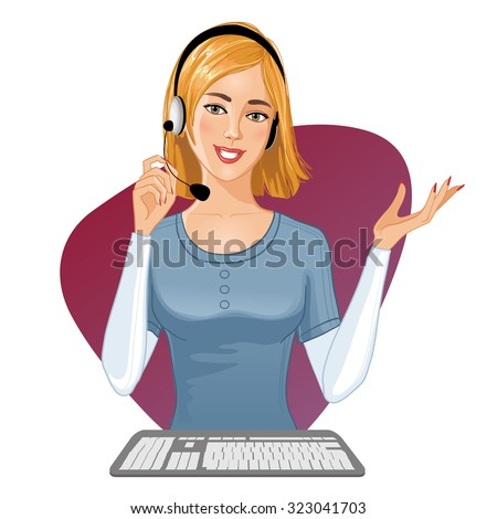 Young girl a call operator at a keyboard, eps10, vector image - stock vector
