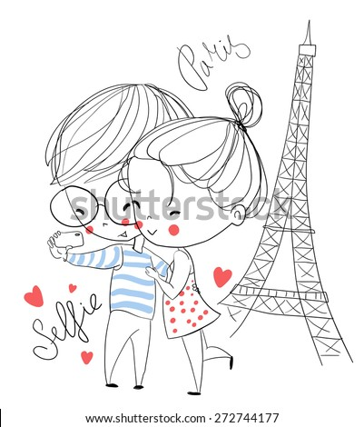 Young girl and boy making self portrait. Paris. Love card. - stock vector