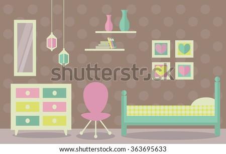 Young girl bedroom vector. Flat design home interior. - stock vector