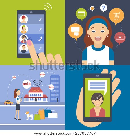 Young girl consulted with her mother as a convenient pay - stock vector