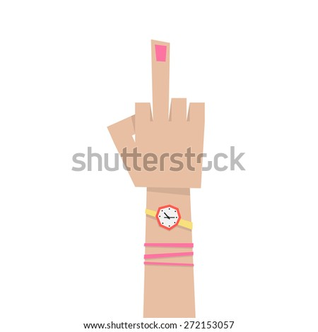 young girl hand with middle finger. concept of pointer, nonverbal, fuck you, brutal, rebel, emotional, punk, furious, lifestyle, bizarre, indecent. flat style modern eps10 design vector illustration - stock vector