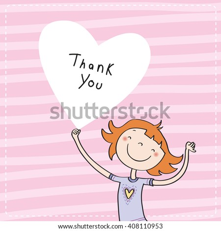 Young girl holding a heart shaped thank you sign. Vector cartoon thank you card illustration. - stock vector