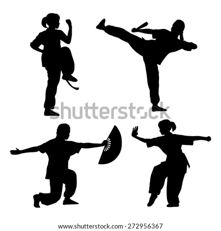 young girl in a pose of Wushu - stock vector