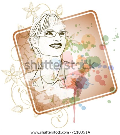 Young girl in glasses with a smile. Vector illustration - stock vector