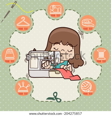 Young girl sewing new dress with sewing machine, sewing info graphics , Sewing and needlework icons, illustrator vector - stock vector