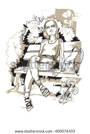 young girl sitting on a park bench in the shade of trees - stock vector