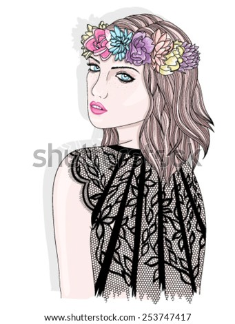 Young girl  with flower crown. Fashion illustration. - stock vector
