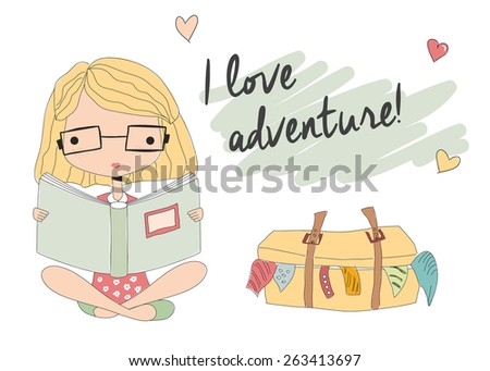 Young girl with glasses reading a book, packed suitcase, vector illustration - stock vector