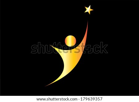 young gold person aiming for excellence achievement success star. youthful golden person aiming for the shining star & achieve ultimate greatness or dream goal or perfection in life - concept symbol - stock vector