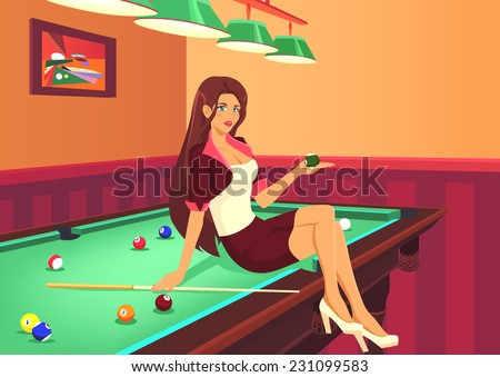 Young graceful  girl invites to play game of american pool. Beautiful girl sits on billiard table in room. She has elegant figure, long legs and sexuality lips. Color vector graphic. - stock vector