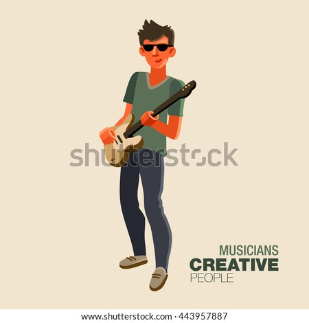 Young guitarist plays on the electric guitar. Creative people - stock vector
