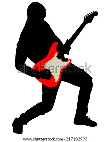 Young guitarist plays on the electric guitar, vector - stock vector