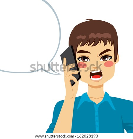 Young guy angry shouting having a phone call conversation - stock vector