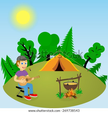 Young guy with a guitar in a forest glade near the fire and tent - stock vector