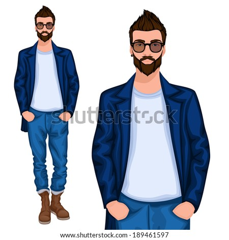 Young handsome casually dressed hipster geek guy with modern haircut in jeans vector illustration - stock vector