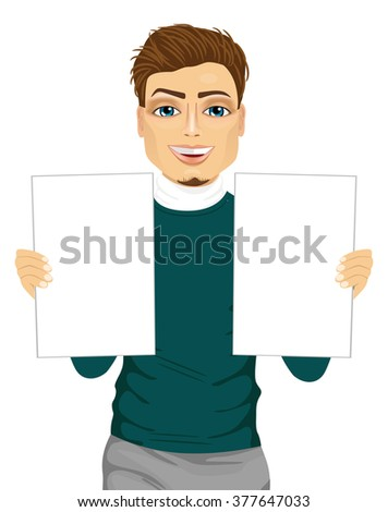 young handsome man holding two blank papers isolated on white background - stock vector
