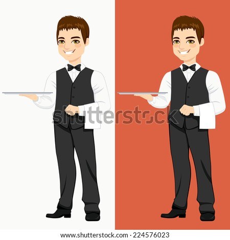 Young handsome waiter standing with empty silver tray in two different color versions - stock vector