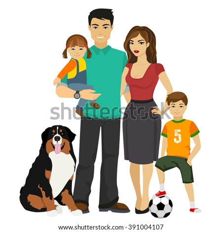 Young happy Family vector illustration. Family together, Family with dog, Family concept, Family happy, Family smling - stock vector